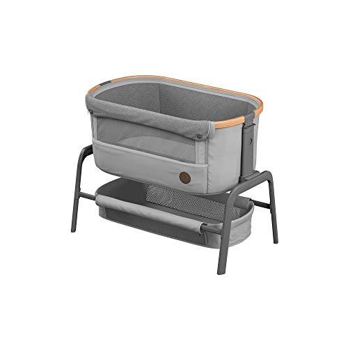 Maxi-Cosi Iora Beistellbett, hochwertiges, höhenverstellbares Babybett, nutzbar ab der Geburt bis max. 9 kg, Inkl. Matratze und Tasche, kompakt faltbar, passt neben fast jedes Bett, essential grey