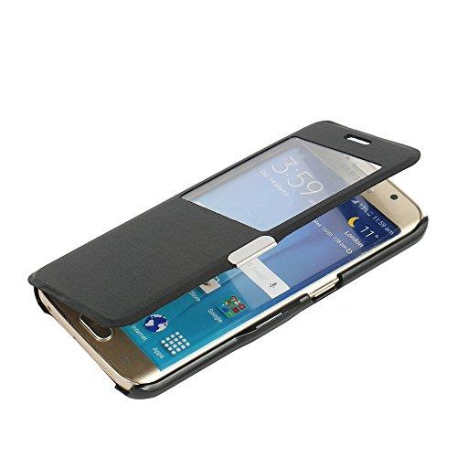 MTRONX pour S6 Edge Coque, Galaxy S6 Edge Coque, Fenetre Vue Ultra Slim Flip Magnetic Cuir Etui Housse Poche Cas Couverture pour Samsung Galaxy S6 Edge - Noir(MW-BK)