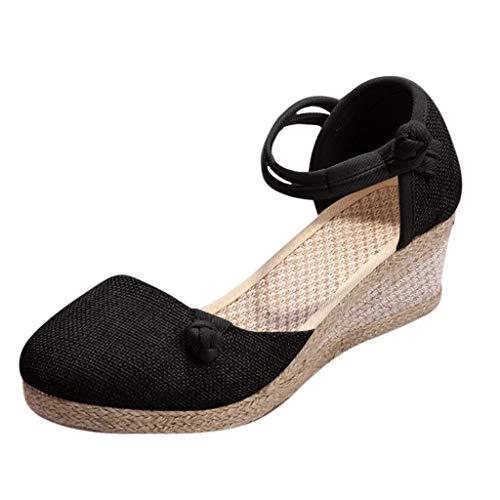 Sandalias para Mujer,RETUROM Las señoras de Las Mujeres de Lino Retro Sandalias de cuña Zapatos de Solteros
