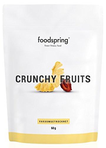 foodspring Crunchy Fruits Ananas-Erdbeere, 60g, Premium Trockenfrüchte, Hergestellt in Deutschland ohne Zuckerzusatz