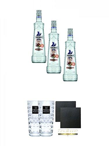 Puschkin Nuts & Nougat 3 x 0,7 Liter + Three Sixty Vodka Gläser 2 Stück + Schiefer Glasuntersetzer eckig ca. 9,5 cm Ø 2 Stück