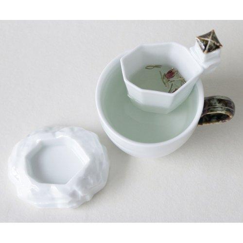 Porcelaine Blanche Infusion Thé Asie Infuseur + Coupelle + Tasse PAVILLON COREEN