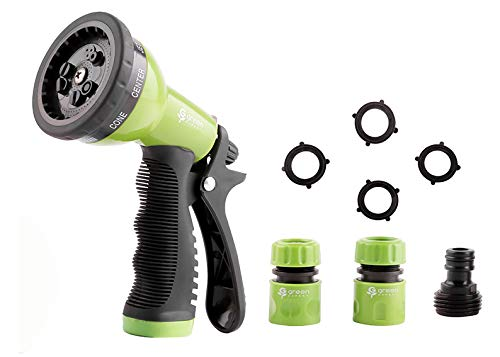 Green Expert Hose Nozzle Full Set with Quick Connectors 9 Adjustable Patterns Suit to Most Hoses Lightweight Water Sprayer Set for Pets Shower Car Wash Plants Watering Home Cleaning 479904