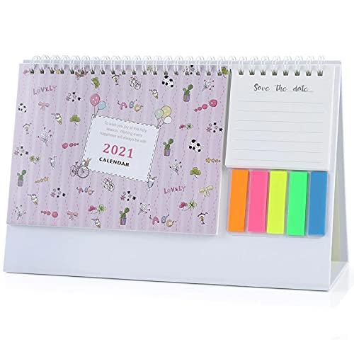 Ottobre 2020 - Dicembre 2021 Calendario da tavolo settimanale Pad Planner giornaliero Mini Memo Calendario Perfetto per Ufficio/Memo/Pianificazione/Organizzazione