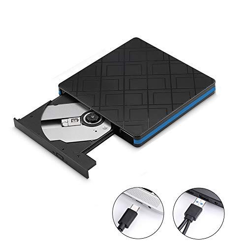 LYDF External DVD Burner, USB 3.0 Type-C High-Speed Portable Optical Slim CD/DVD RW Drive Player Compatible with Desktop PC Windows XP/Vista/ 7/8/10 Mac OS (Black)