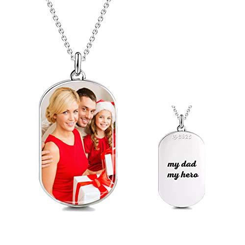 Collar personalizado con placa de identificación Collar colgante tallado personalizado Collar con foto impresa para padre(Plata 22)