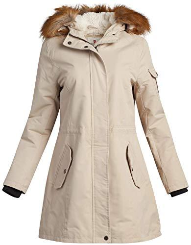 Urban Republic Women's Winter Coat - Heavyweight Sherpa-Lined Expedition Parka Jacket, Stone, Size Large