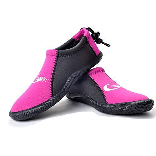 Dive Boots Neoprene Wetsuit Booties Scuba Diving Booties 3MM 5MM for Men Women, Fin Booties Quick-Dry Anti-Slip Water Sports Boots for Surfing Fishing Kayaking (3mm Pink, US Men's 7 / US Women's 8)