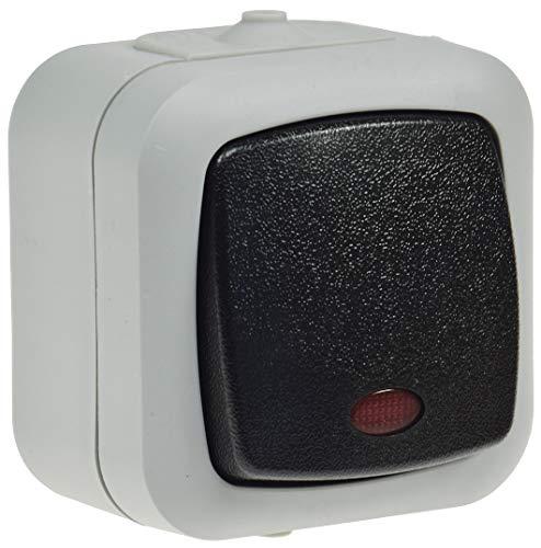 Feuchtraum Wechsel-Schalter mit Kontroll Lampe IP44 Aufputz 250V 10A Grau