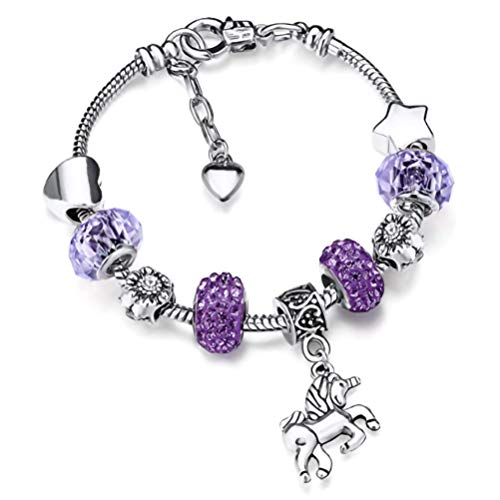 Unicorn Bracelet Shiny Crystal Charm Bracelet Little Princess Rhinestone Beads Flower Bangle with Unicorn Pendant Jewery Gift for Girl Women Bracelet Chian