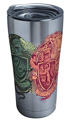 Tervis Copo isolado com cristas ilustradas Harry Potter 1295912 com tampa de martelo transparente e preta, aço inoxidável de 590 ml, prata
