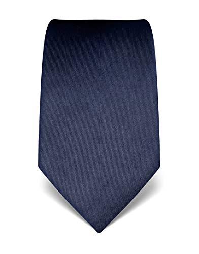 Vincenzo Boretti Herren Krawatte reine Seide uni einfarbig edel Männer-Design zum Hemd mit Anzug für Business Hochzeit 8 cm schmal/breit dunkelblau