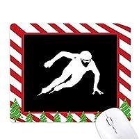 スケートの黒の冬のスポーツのシルエット ゴムクリスマスキャンディマウスパッド