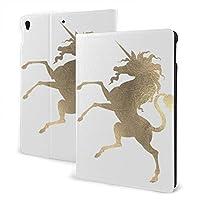 SORA ミニマル 公平 ユニコーン 馬 プリンセス 白 金ゴールド iPad Pro 10.5 ケース新型 レザー アイパッド プロ カバー 高級PUレザーケース 手帳型 全面保護 二つ折 iPad Pro 10.5 インチ (2017)