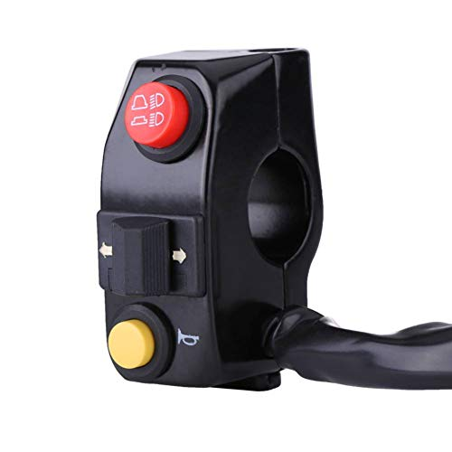 Yosoo Health Gear Interruptor de Control del Manillar de la Motocicleta, botón pulsador de Montaje del Manillar Universal de 7/8'con señal de Giro del Cuerno Control de Haz Alto bajo(Negro)