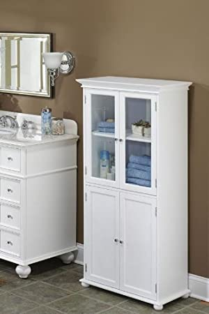 Amazon Com Home Decorators Collection Hampton Bay 25 W Four Door Tall Bath Cabinet 52 5 Hx25 Wx14 D Sequoia Furniture Decor