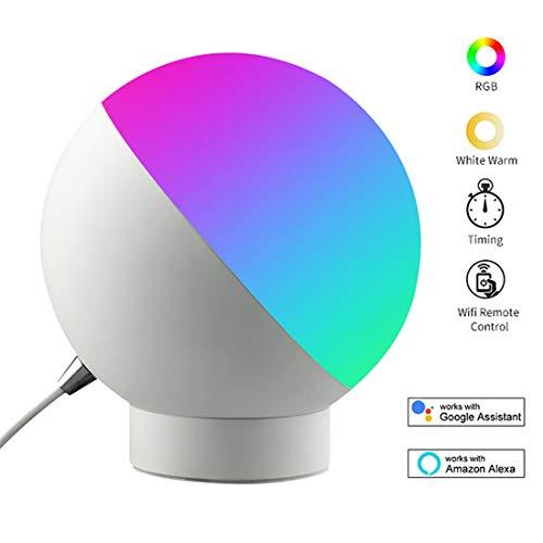 JiAWEI Nachtlampje, wifi, dimbaar, 16 miljoen kleuren, Alexa Google Home muzieklicht, afstandsbediening via iOS/Android-apparaat – 7 watt