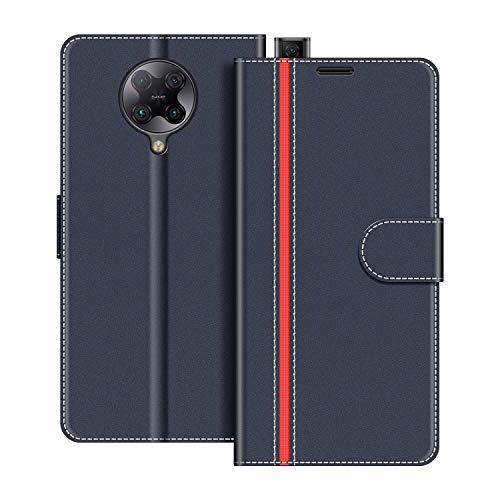 COODIO Handyhülle für Xiaomi Poco F2 Pro 5G Handy Hülle, Xiaomi Poco F2 Pro 5G Hülle Leder Handytasche für Xiaomi Poco F2 Pro 5G Klapphülle Tasche, Dunkel Blau/Rot