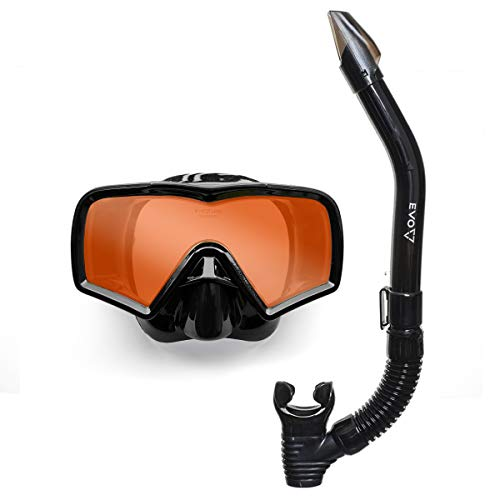 EVO Hi Definition Mask and Snorkel Combo - Single Lens - Snorkel Mask Adult - Scuba Mask and Snorkel Set Adult - Scuba Diving Mask with Valve - Dive Mask - Scuba Diving Accessories - Scuba Gear