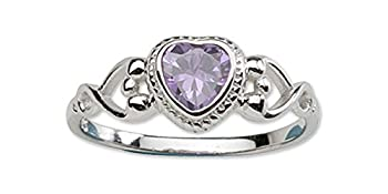 Sterling Silver June CZ Simulated Birthstone Baby Ring with Heart