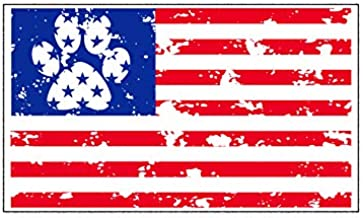 Dog Paw American Flag Vinyl Decal - Patriotic Pet Bumper Sticker - Perfect for Laptops Tumblers Windows Cars Trucks Walls
