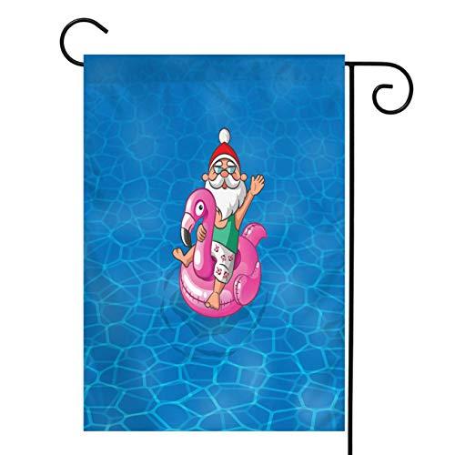 Santa Claus Vertical Double Sided Burlap Garden Flag,Santa Claus With Flamingo Inflatable Float Sail Along The Sea,House Yard Outdoor Farmhouse Holiday Flag Christmas Decoration,Burlap 12x18 In