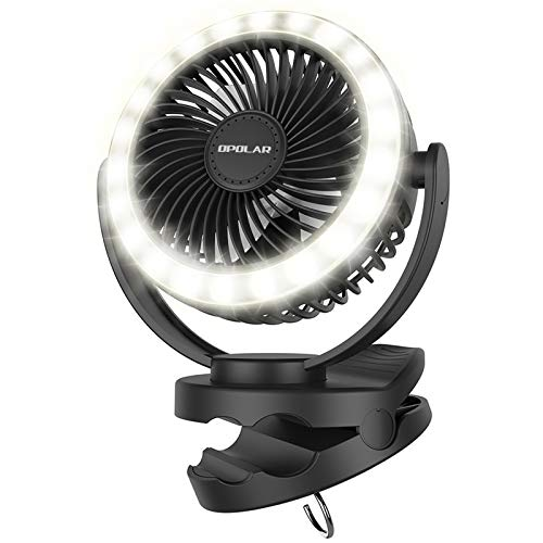 OPOLAR 10000mAh Rechargeable Camping fans with lights,Clip on Fan with 22 Lamp Beads,40H Working time,2-6H Three Levels Time setting,4 Speeds Adjustment,Hanging Hook Desk Fan