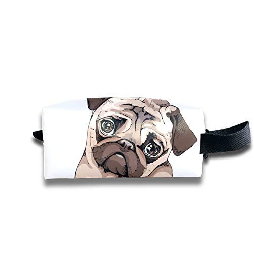 Lady Cosmetic Bag Adorable Puppy Pug Dog Pink Donut Modern Makeup Bag Square Toiletries Bags For Women Large Capacity With Zipper For Women And Girls Daily Use, Travel, Vacation, Camping