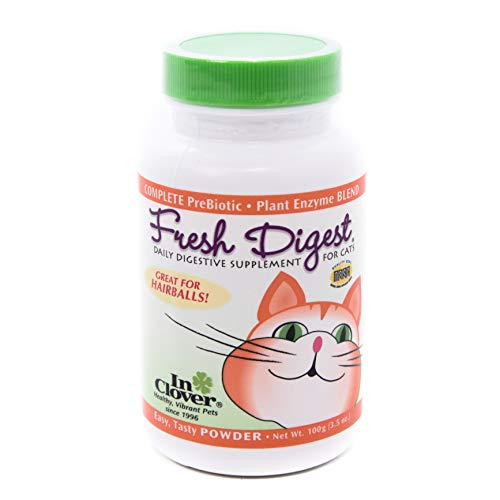 In Clover Fresh Digest Daily Digestive Aid and Immune Support Supplement for Cats, Natural Prebiotic and Enzyme Powder for Healthy Stools, Hairball Control, Stop Litterbox Odor, Works Fast 100g/3.5oz