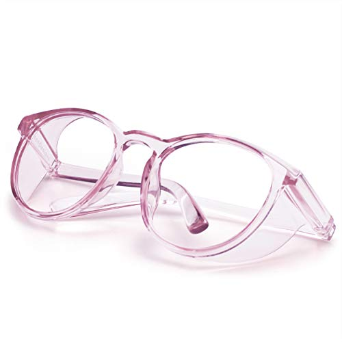 LeonDesigns Stylish Round Safety Glasses Anti-Fog Women   Fashion Eye Protection Blue Light Blocking Glasses with Side Shields   Lab Clear Protection Goggles (pink)