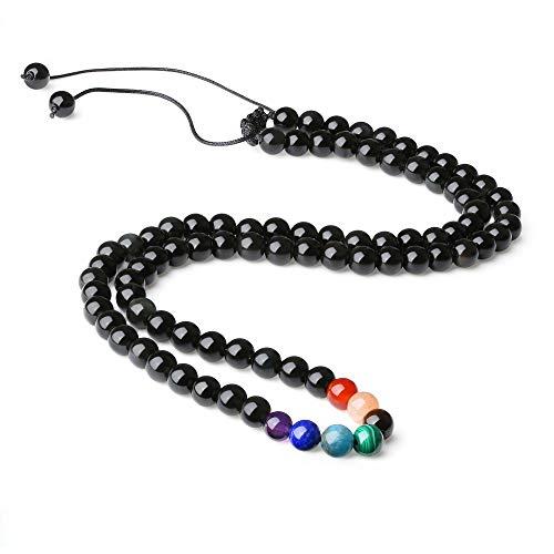 coai Geschenkideen Unisex Verstellbare Halskette aus Obsidian und 7 Chakra Yoga Kette Wickelarmband