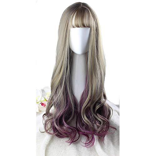 Dames lang krullend haar, grijs + druif paars linnen, 65cm, groot golvend krullend haar, geschikt voor feest, prom, Halloween pruik
