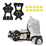 Midong Ice Cleats, Ice Grippers Traction Cleats Shoes and Boots Rubber Snow Shoe Spikes Crampons with 10 Steel Studs Cleats Prevent Outdoor Activities from Wrestling (L)