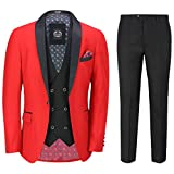 3 Piezas De Smoking Traje Formal del Boda Esmoquin Hombres A Medida Red Blazer Chaleco Plancha [SUIT-S45-8-43-RED-48UK]