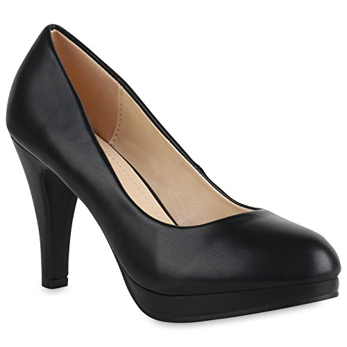 Damen Plateau Pumps Leder-Optik Schuhe Stiletto High Heels Basic 154327 Schwarz Arriate 41 Flandell