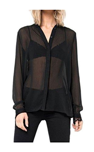 Tigha Artemis Damen Bluse Hemd schwarz weiß durchsichtig Spitze (34, Schwarz)