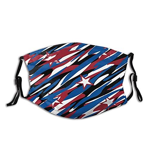 Mascarilla facial con bolsillo de filtro, diseño de camuflaje patriótico abstracto, lavable, reutilizable, pasamontañas con 2 filtros de color negro