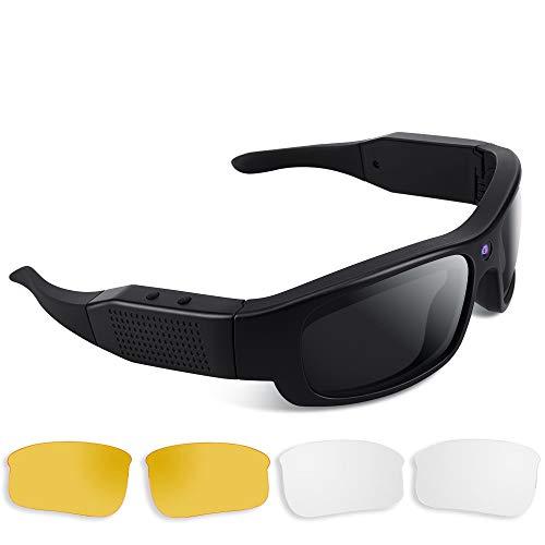 1080P HD Espion - Gafas de sol, cámara de acción de vídeo con lentes polarizadas UV400, soporte fotográfico, tarjeta de memoria integrada de 16 GB