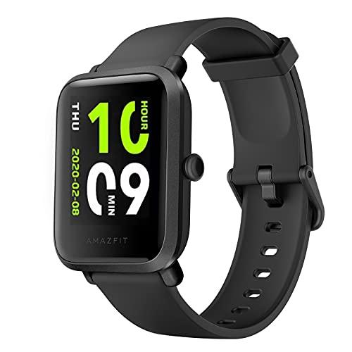 2021最新 Amazfit Bip S Lite スマートウォッチ 活動量計 歩数計 血压 腕時計IP68 50m防水 腕時計 Bluetooth5.0 1.28インチ多種類運動モード 長い待機時間 明度調整 消費カロリー 睡眠検測 着信電話通知 SMS Twitter Line アプリ通知 iPhone Android対応 (black)