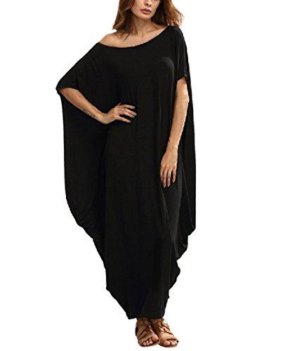 Vestidos Elegantes Largos de Verano Hippies Casual Ropa de Playa Mujer Tallas Grandes Vestido Bohemio Cuello V sin Manga Corta Fiesta Boda Oversize Maxi Largo