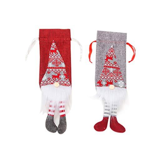 Amosfun 2 stücke weinflasche abdeckung gnome weinflasche pullover weihnachten champagner wein geschenk taschen gastgeschenke hause weihnachten ornamnet weinflasche dekoration (rot und grau)
