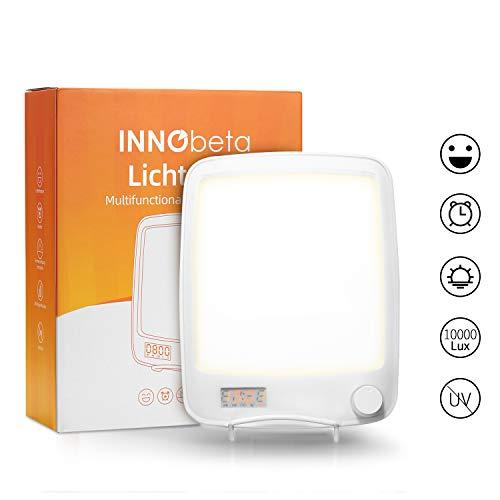 10000 Lux Tageslichtlampe mit Wecklicht, Wecker, Sunlight LED Schreibtischlampe, für Winter, Sonnenaufgangssimulation & natürlicher Sound, UV-frei, 20 Helligkeitsstufen – Lichtopie