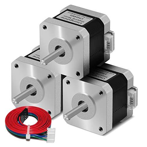 Usongshine Nema 17 Schrittmotor, 1.5A High Torque 420mN.m (59.5 oz.in) 2-Phasen 4-Draht 1.8° Stepper Motor für CNC 3D Drucker Printer/CNC XYZ Draht + DuPont-Linie (4401 3PCS)