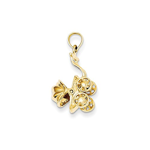 Black Bow Jewellery Company: 14K Gelb Gold 3D Baby Beförderung Anhänger, 13x 23mm