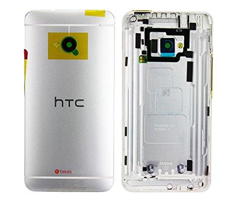 Handyteile24 ✅ Akkudeckel Backcover Akku Deckel Gehäuse mit Kameralinse in Silber für HTC One M7