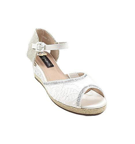 Timbos Zapatos - 121994 Cuña Novia Esparto, para Mujer, Color Blanco, Material...