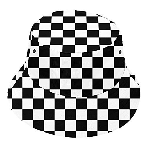 YIEASY Checkered Bucket Hat Illusion Trippy Sun Travel Beach Fisherman Cap Women Men Teen Reversible Funny Quick Dry Fashion SPF 50 Novelty Trendy
