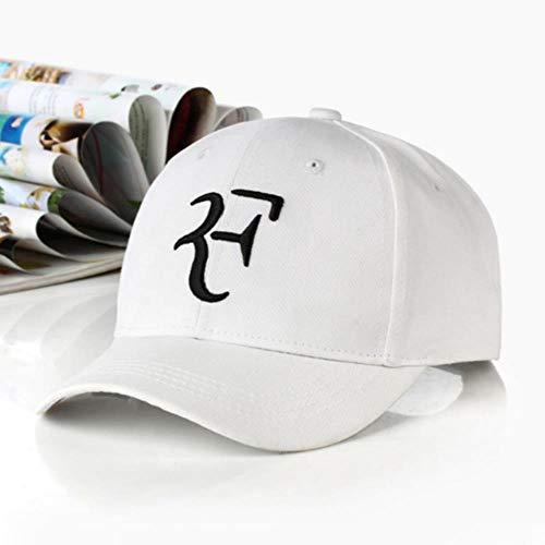 LinZX Cotton Roger Federer Dad-Hut-Kappe für Männer 3D-Stickerei-Baseballmütze Unisex Hysteresen-Kappen-Hip Hop F Kappen Sommer Kpop Sports Gorras,White