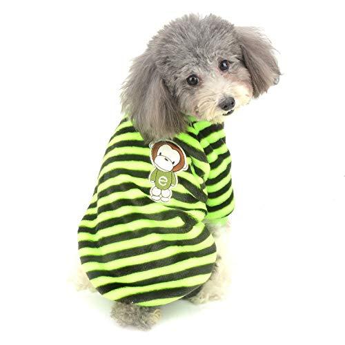 Ranphy Kleiner Hund Pullover Sweater Samt Pullover Welpen Kleidung Weich Sweatshirt Mädchen Junge Winter Warm Hoodie Streifen Jacke für Chihuahua Spielzeug Pudel Katze Gelb L