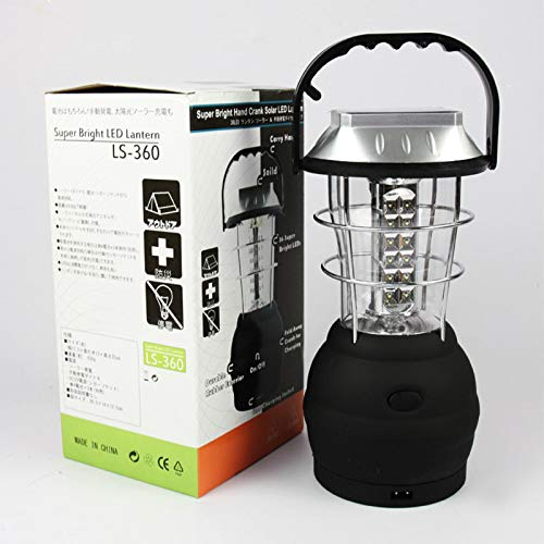 Solar Lantern, 5 Mode Hand Crank Dynamo 36 LED Rechargeable Camping Lantern Emergency Light, Ultra Bright LED Lantern, Car Charge, for Hiking Emergencies Hurricane Outages